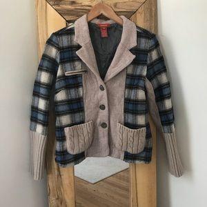 Sundance Mixed Media Blazer Wool Blend Plaid Knit